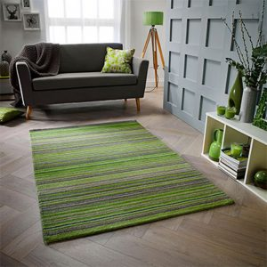 green stripe wool rug handmade