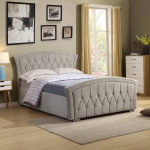 ottoman fabric velvet mink beige bed