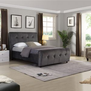 grey charcoal velvet bed