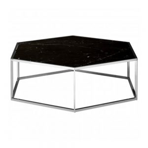 black marble glass coffee table hexagon