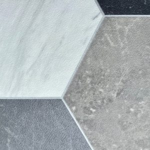 marble hexagon vinyl flooring grey white black